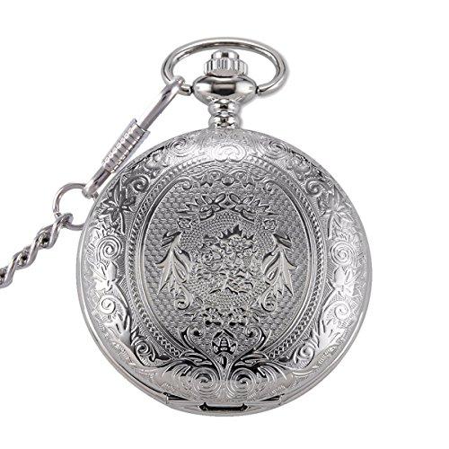 switchme Retro Taschenuhr Quarz Japan Bewegung Uhr mit Guertel Clip Kette Silber Ton