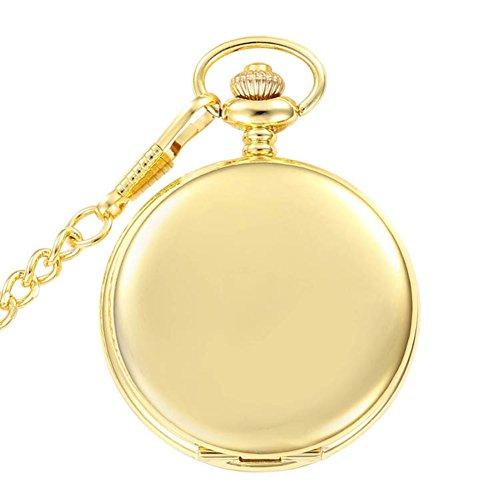 switchme Taschenuhr Golden Glatte Analog Japan Bewegung Armbanduhr mit Guertel Clip Kette