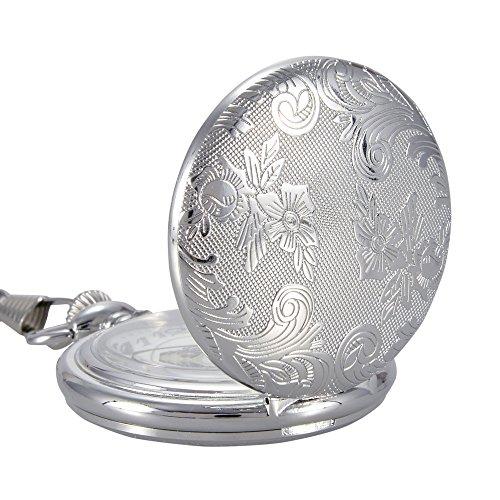 switchme Vintage Quarz geschnitzt Taschenuhr Japan Bewegung mit Guertel Clip Kette Silber