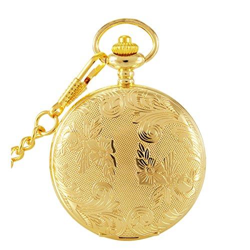 switchme Vintage geschnitzt Taschenuhr Quarz Japan Bewegung mit Guertel Clip Kette Gold