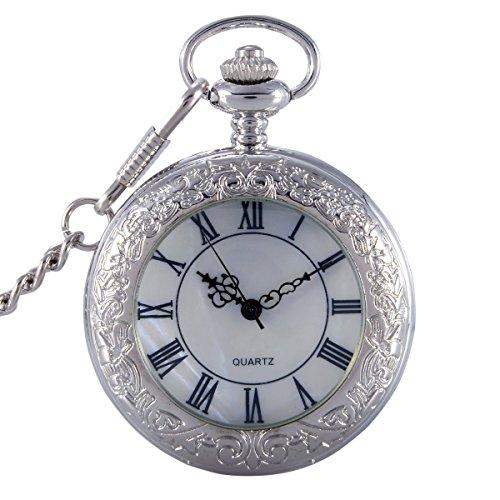switchme Vintage Taschenuhr Quarz Classic roemischen Zahl Japan Bewegung mit Guertel Clip Kette Silber