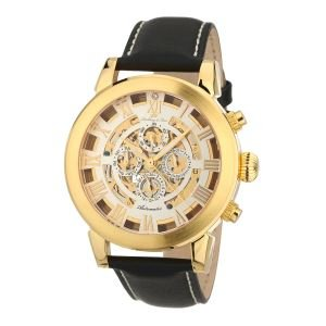 Lindberg Sons g13103 Azteca Zeigt Herren Automatische Analog Zifferblatt Gold Armband Leder Schwarz