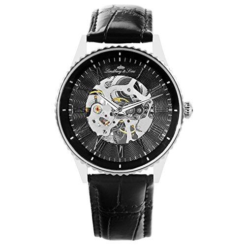 Lindberg Sons Herren Armbanduhr Automatik Analog Skelettuhr Leder Schwarz CHP151