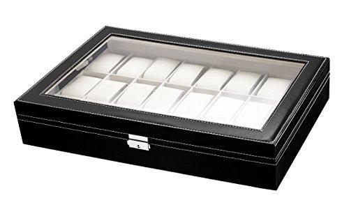 Lindberg Sons Uhrenbox Uhrenkasten fuer Aufbewahrung von 24 Uhren in Schwarz B1O6 5