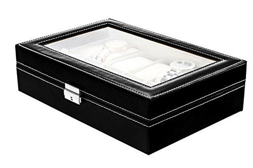 Lindberg Sons Uhrenbox Uhrenkasten fuer Aufbewahrung von 12 Uhren in Schwarz B1O6 3