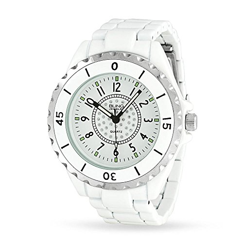 Bling Jewelry weisser Emailfarbe Crystal waehlen Unisex Fashion Edelstahl zurueck Watch