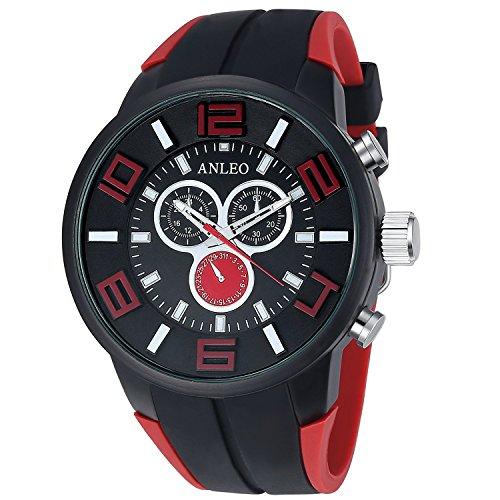 Anleo Herren Armbanduhr Quarz Japanische Bewegung Sport Einsatz Digital MehrfuntionalUhr Rot