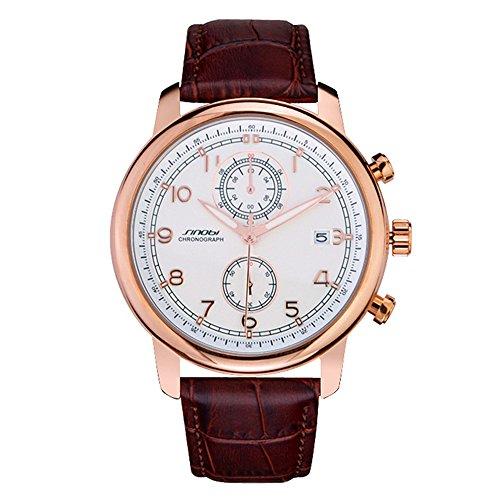Herren Braun Leder Armbanduhr mit Datum Display Fashion Maennlich Uhr weiss Zifferblatt