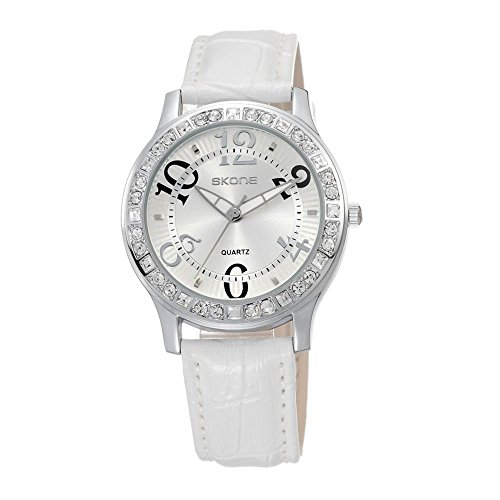 Weiss Leder Armbanduhr Frauen Fashion Casual Kleid Diamant Armbanduhr fuer Lady