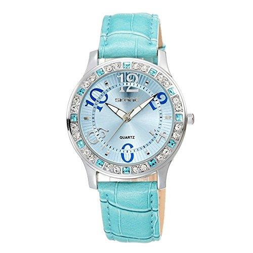 Blau Leder Armbanduhr Frauen Fashion Casual Kleid Diamant Armbanduhr fuer Lady