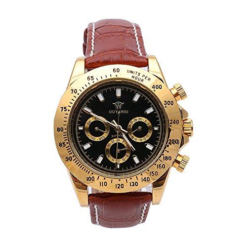 Braun Leder Automatische Uhren Herren Mechanische Uhr Fashion Maennlich Armbanduhr wasserabweisend