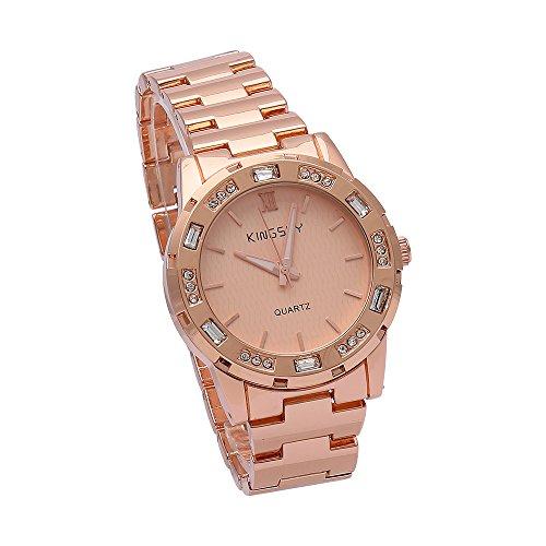 Damen Rose Gold Stahl Casual Quarzuhren Damen Elegantes Armband Armbanduhr