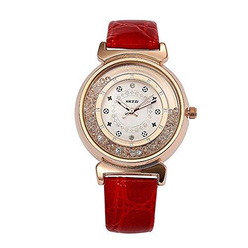 Damen Rot Leder Quarz Uhren mit Gold Fall und Diamanten Fashion Armband Uhr