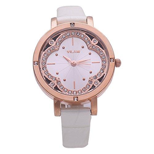 Fashion Damen weiss Leder Casual Armband Uhren Damen Gold Strass Uhr