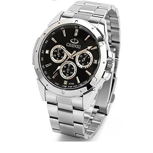 Fashion Herren Casual Uhren mit Weiss Stahl Band und Zifferblatt schwarz