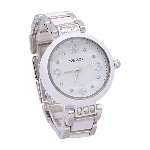 Fashion Weiss Keramik Quarz Uhren fuer Frauen elegante