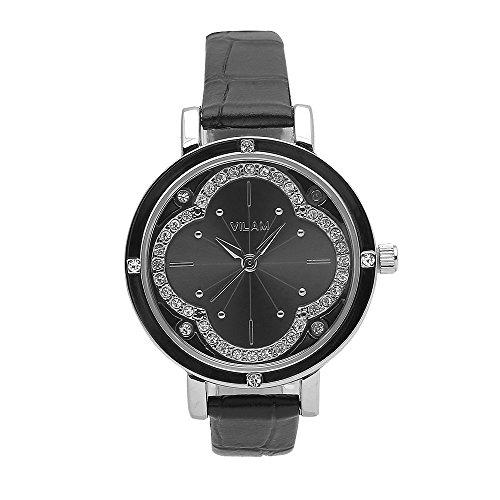 Fashion Schwarz Leder Casual Watches fuer Damen mit Strass Dekoration und Gold Fall