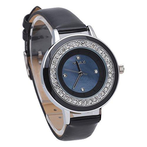 Fashion Uhren fuer Damen schwarz Leder mit Diamant Deco