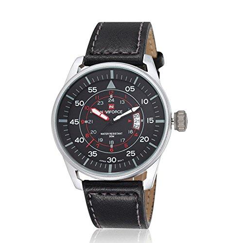 Herren Schwarz Leder Armbanduhr maennlich Casual Schwarz Zifferblatt