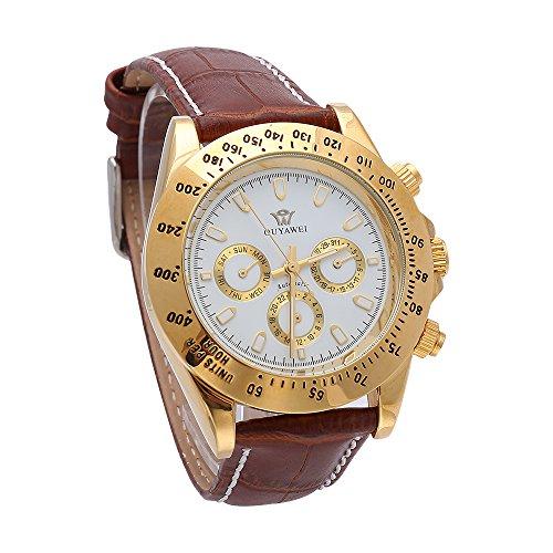 Herren Braun Lederband automatische mechanische Uhren Fashion Maennlich casual Armbanduhr