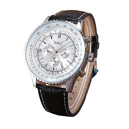 Herren Mechanische Uhren Stecker Fashion Schwarz Leder Automatische Armbanduhr Weiss Zifferblatt
