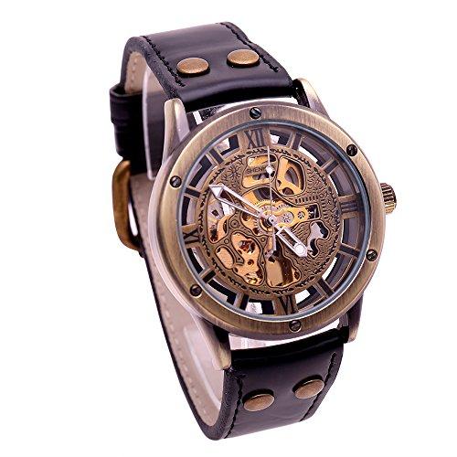 Herren Schwarz Leder Vintage Automatische Mechanische Uhren Maennlich casual Skelett Armbanduhr