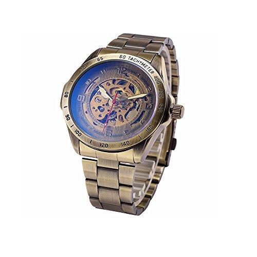 Herren Vintage Automatische Mechanische Skelett Uhren Maennlich casual Stahl Analog Uhr