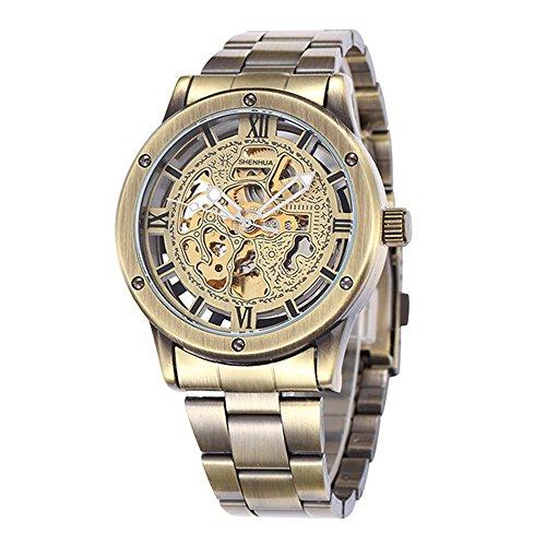 Herren Vintage Automatische Mechanische Skelett Uhren Maennlich casual Stahl Uhr