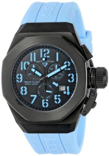 Swiss Legend Trimix Diver 44mm Armband Kautschuk Blau Batterie Analog 10542 BB 01 BBLA