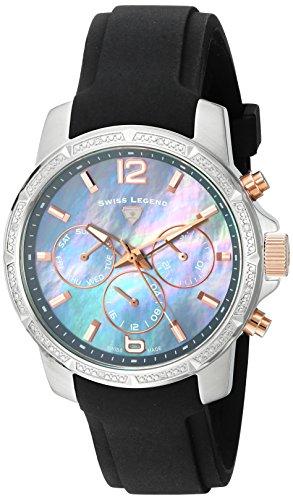 Swiss Legend Legasea Damen Armbanduhr 38mm Armband Silikon Schwarz Schweizer Quarz Analog 16527SM SR 014