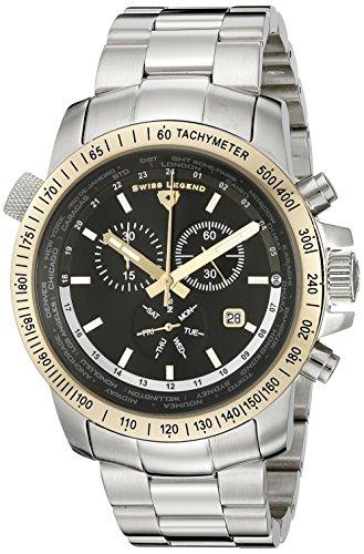 Swiss Legend Maenner 10013 11 GB World Timer Sammlung Chronograph Uhr aus Edelstahl