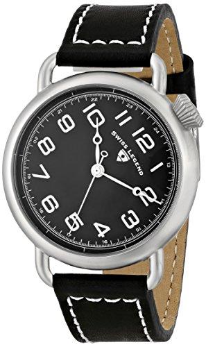 Swiss Legend Herren 42mm Schwarz Leder Armband Edelstahl Gehaeuse Uhr 11008 01