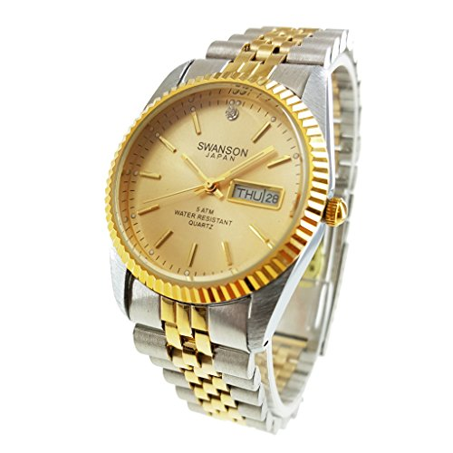 Swanson Japan Herren Armbanduhr Bicolor day date Gold Zifferblatt