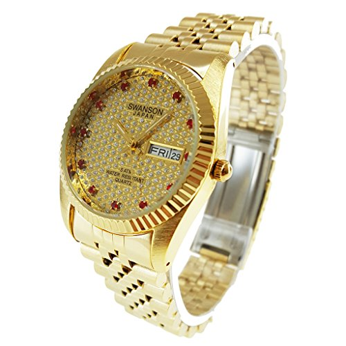 Swanson Japan Herren Gold day date rot Stein Gold Zifferblatt