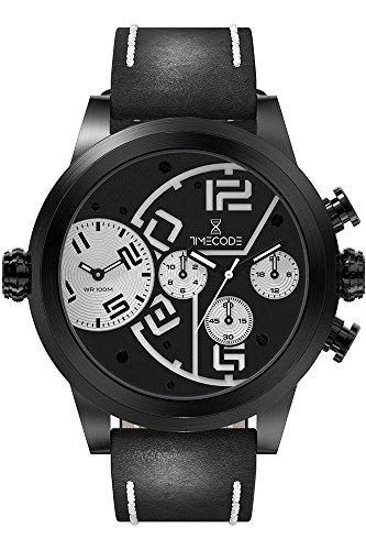 Timecode Chip 1958 fuer Maenner Armbanduhr Chronograph Dual Time Quartz TC 1001 01