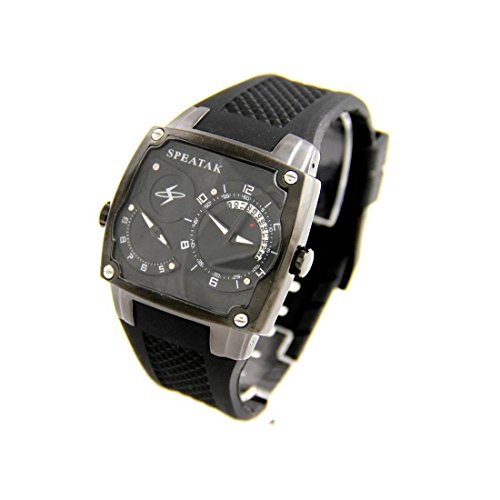 Armbanduhr Herren dble cadran Armband Silikon Schwarz Speatak 2201