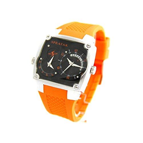 Armbanduhr Herren dble cadran Armband Silikon Orange Speatak 2425