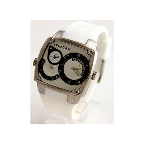 Armbanduhr mit dble cadran Silikon Armband Weiss Speatak 2101