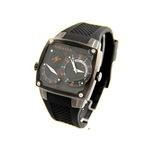 Armbanduhr Herren dble cadran Silikon Schwarz Speatak 2268