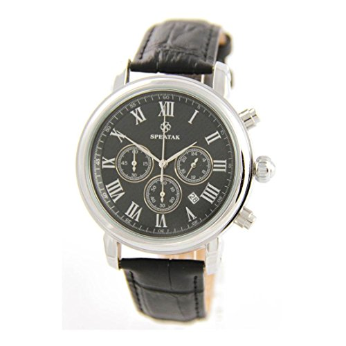 Armbanduhr mit Leder schwarz Speatak 754
