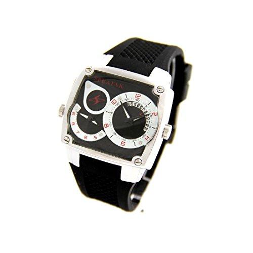 Herrenuhr dble cadran Armband Silikon Schwarz Speatak 2128