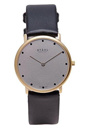 Stahl Swiss Made Armbanduhr Modell st61106 vergoldet klein 27 mm Fall 12 dot grau Zifferblatt
