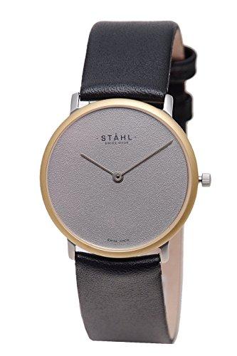 Stahl Swiss Made Armbanduhr Modell st61145 vergoldet Gross 33 mm Fall Uni Grau Zifferblatt