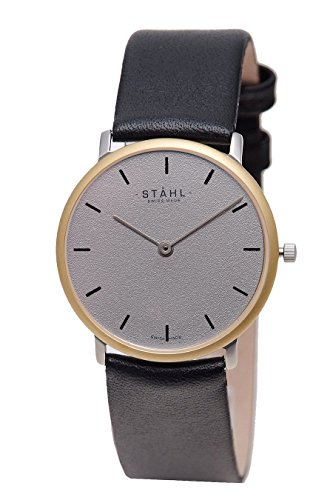 Stahl Swiss Made Armbanduhr Modell st61127 vergoldet mittlere 30 mm Fall Bar Grau Zifferblatt