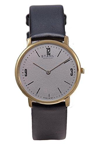 Stahl Swiss Made Armbanduhr Modell st61369 Edelstahl Extra grosse 36 mm Fall Arabisch und Bar Grau Zifferblatt