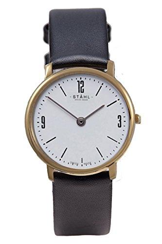 Stahl Swiss Made Armbanduhr Modell st61379 Edelstahl Extra grosse 36 mm Fall Arabisch und Bar weiss Zifferblatt