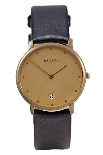 Stahl Swiss Made Armbanduhr Modell st61471 Edelstahl Extra grosse 36 mm Fall 12 dot Gold Zifferblatt