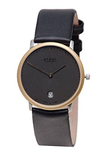 Stahl Swiss Made Armbanduhr Modell st61243 vergoldet Gross 33 mm Fall 60 DOT silber Zifferblatt