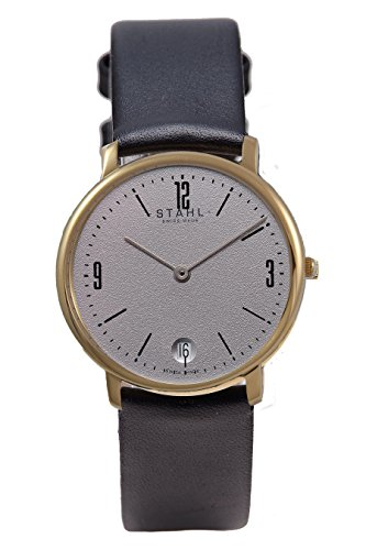 Stahl Swiss Made Armbanduhr Modell st61469 Edelstahl Extra grosse 36 mm Fall Arabisch und Bar Grau Zifferblatt