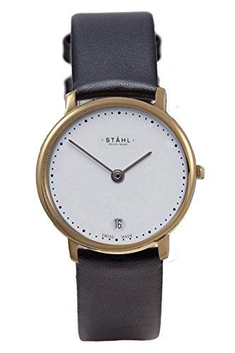 Stahl Swiss Made Armbanduhr Modell ST61418 Edelstahl Klein 27 mm Fall 60 DOT Weiss Zifferblatt